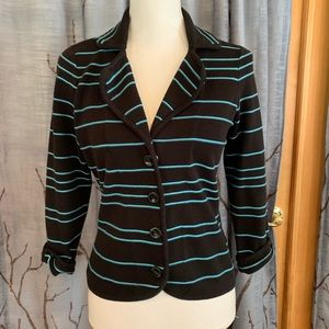 Etcetera M black teal blue stripe knit bla…